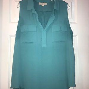 Beautiful aqua blue sleeveless blouse from Loft